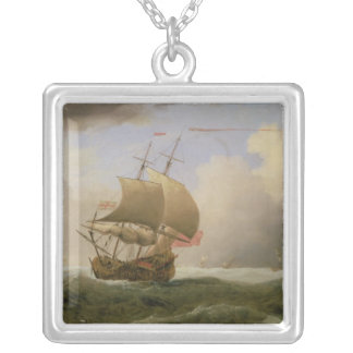 An English Ship Close-hauled in a Strong Breeze Silver Plated Necklace