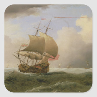An English Ship Close-hauled in a Strong Breeze Square Sticker