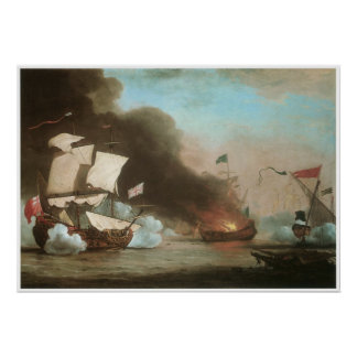 An English ship in Action with Barbary Pirates Poster