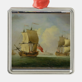 An English Sloop and a Frigate in a Light Breeze ( Ornament