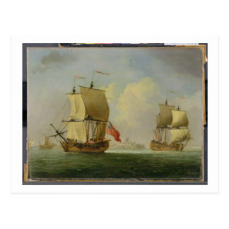 An English Sloop and a Frigate in a Light Breeze ( Postcard