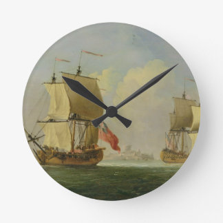 An English Sloop and a Frigate in a Light Breeze ( Round Clock