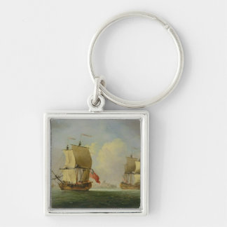 An English Sloop and a Frigate in a Light Breeze ( Silver-Colored Square Keychain
