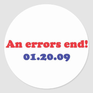 an errors end classic round sticker