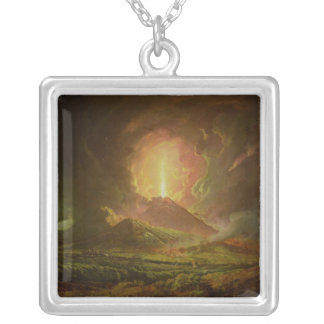 An Eruption of Vesuvius, seen from Portici Silver Plated Necklace