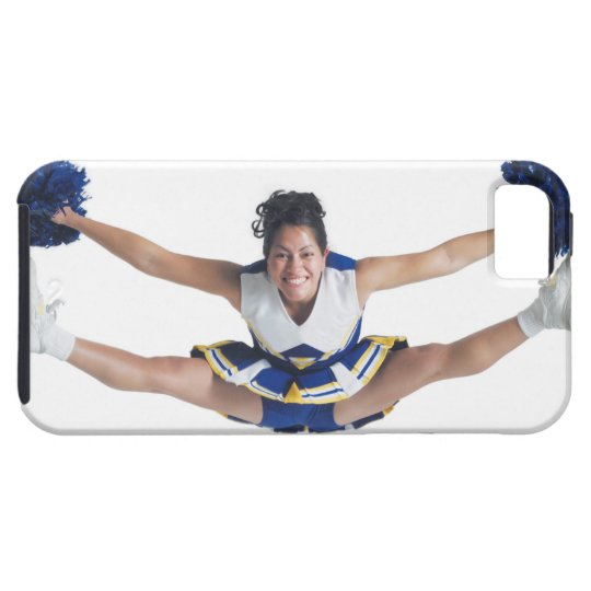 an ethnic teenage female cheerleader jumps high iPhone SE/5/5s case