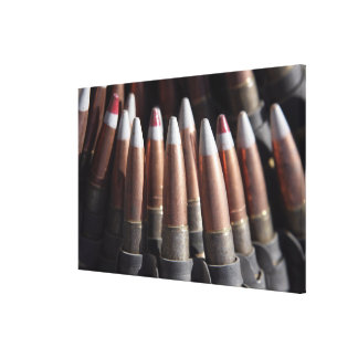 An even mix of four ball rounds to one tracer stretched canvas print