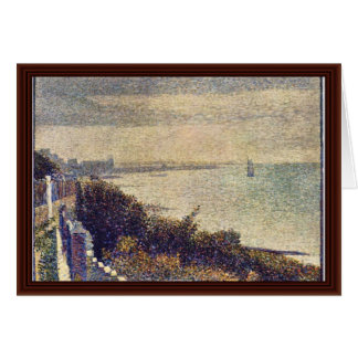 An Evening In Grand Camp By Seurat Georges Greeting Cards