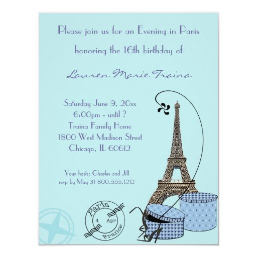 """An Evening in Paris Blue Themed Party Invitation 4.25"""" X 5.5"""" Invitation Card"""