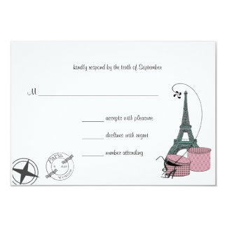 An Evening In Paris Custom Background RSVP card