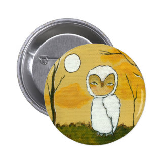 An Evening Stroll Whimsical Woodland White Owl Art Pin