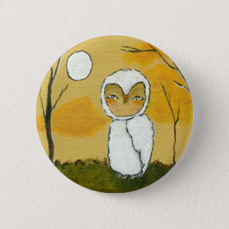 An Evening Stroll Whimsical Woodland White Owl Art Pinback Button