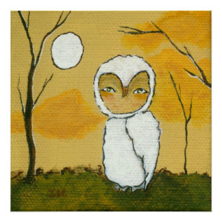 An Evening Stroll Whimsical Woodland White Owl Art Poster