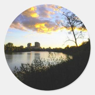 An Evening View of Winnipeg Classic Round Sticker