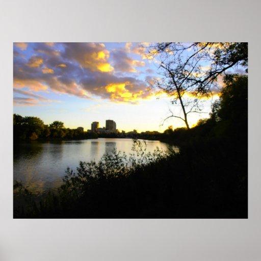 An Evening View of Winnipeg Poster