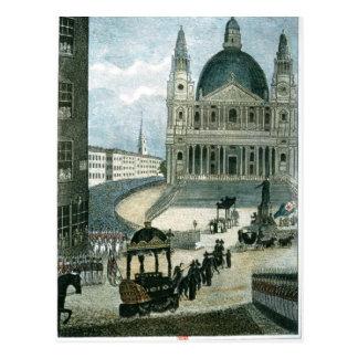 An exact representation of the grand funeral car postcard