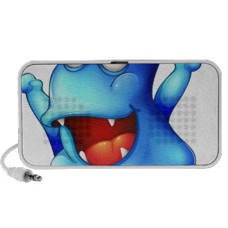 An excited blue monster iPhone speaker