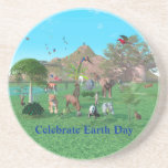 An exotic wild animal scene coaster