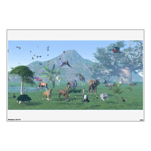 An exotic wild animal scene room decal