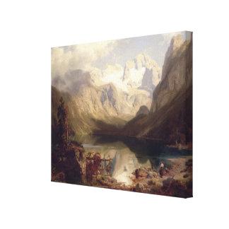 An Extensive Alpine Lake Landscape, 1862 (oil on c Canvas Print