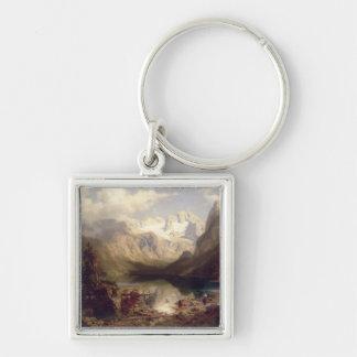 An Extensive Alpine Lake Landscape, 1862 (oil on c Key Chains