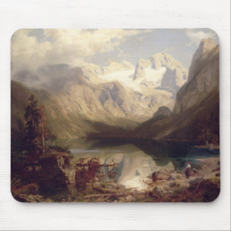 An Extensive Alpine Lake Landscape, 1862 (oil on c Mouse Pad