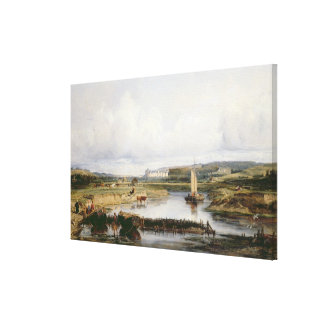 An Extensive River Landscape with a View of the Ch Canvas Print