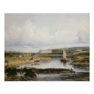 An Extensive River Landscape with a View of the Ch Poster