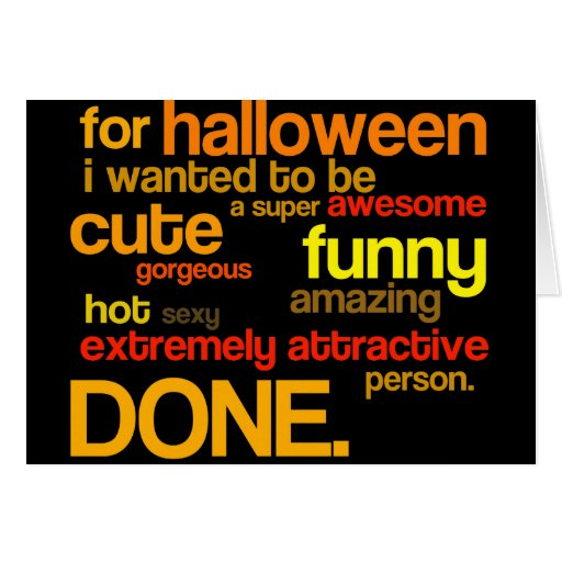 an extremely attractive halloween costume card
