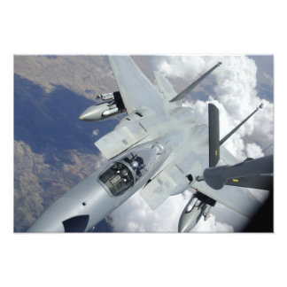 An F-15 Eagle pulls away from a KC-135 Photo Print