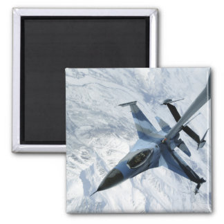 An F-16 Aggressor sits in contact position 2 Inch Square Magnet