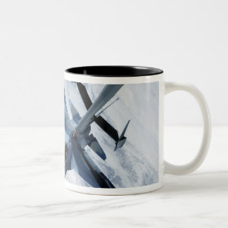 An F-16 Aggressor sits in contact position Two-Tone Coffee Mug