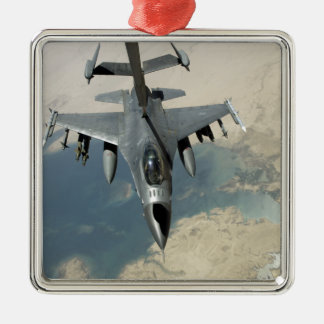 An F-16 Fighting Falcon refuels Christmas Ornament