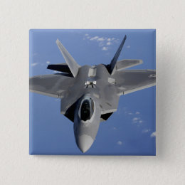 An F-22 Raptor moves into position to receive f 2 Pinback Button