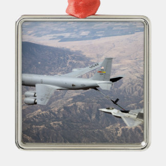 An F-22 Raptor receives fuel from a KC-135 Christmas Tree Ornaments
