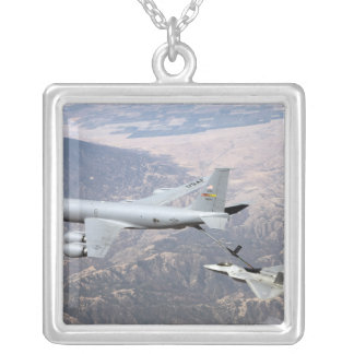 An F-22 Raptor receives fuel from a KC-135 Square Pendant Necklace