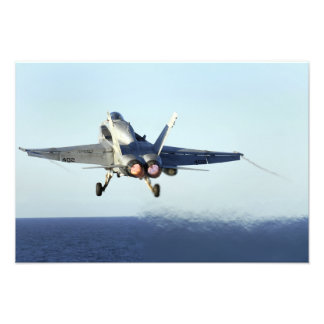 An F/A-18C Hornet launches from the flight deck 2 Photographic Print