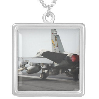 An F/A-18C Hornet launches from the flight deck 2 Square Pendant Necklace
