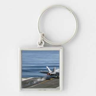 An F/A-18E Super Hornet Silver-Colored Square Keychain