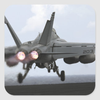 An F/A-18E Super Hornet launches Square Stickers