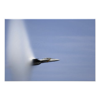 An F/A-18E Super Hornet reaches the speed of so Poster