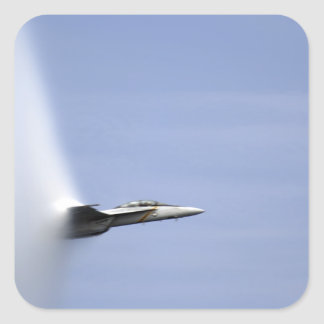 An F/A-18E Super Hornet reaches the speed of so Square Sticker