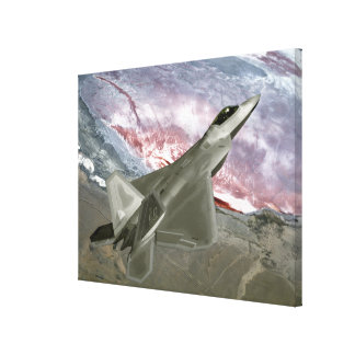 An F/A-22 Raptor flies a training mission Canvas Print