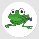 AN- Funny Frog Playing Clarinet Classic Round Sticker