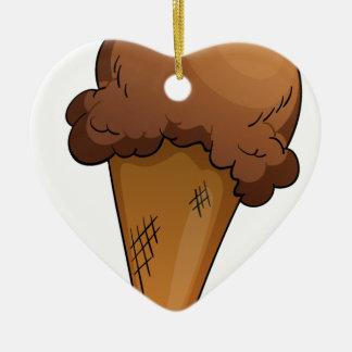 an Ice-cream Double-Sided Heart Ceramic Christmas Ornament