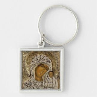An icon showing the Virgin of Kazan Keychain