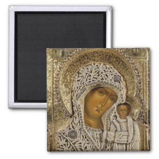 An icon showing the Virgin of Kazan Fridge Magnet