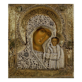 An icon showing the Virgin of Kazan Poster