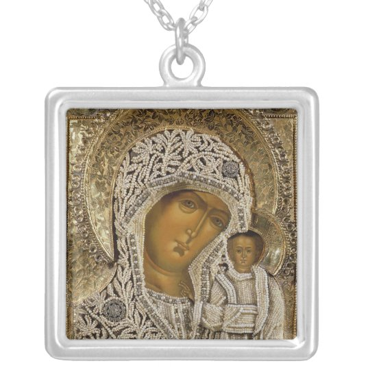 An icon showing the Virgin of Kazan Silver Plated Necklace