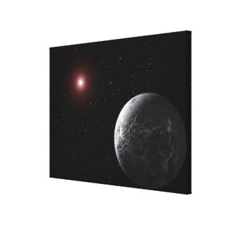 An icy/rocky planet orbiting a dim star canvas print